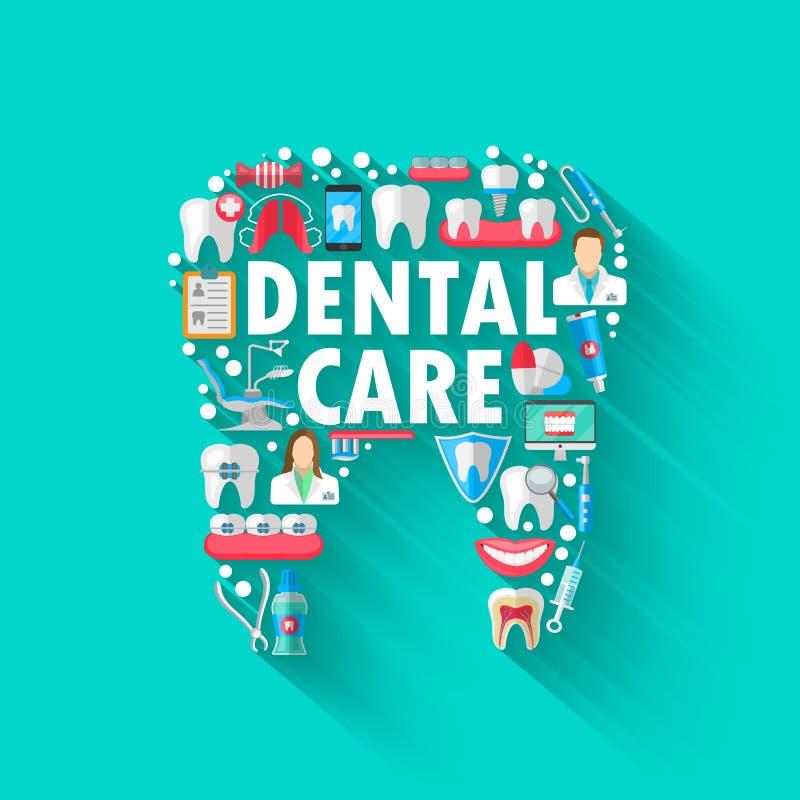 Concept dentaire de fond de bannière avec les icônes plates d'isolement Illustration de vecteur, art dentaire, orthodonties Sain  illustration stock