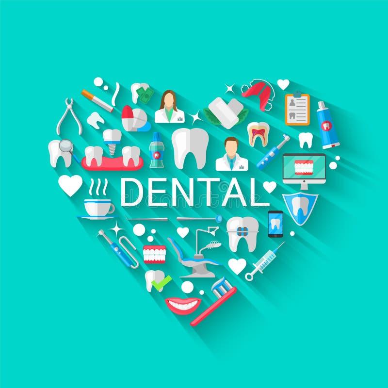 Concept dentaire de fond de bannière avec les icônes plates d'isolement Illustration de vecteur, art dentaire, orthodonties Sain  illustration libre de droits
