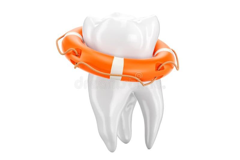 Concept dentaire de premiers secours, dent avec la bouée de sauvetage rendu 3d illustration libre de droits