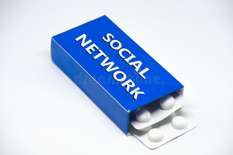 Concept of dependence by social network who are like a drug stock photography