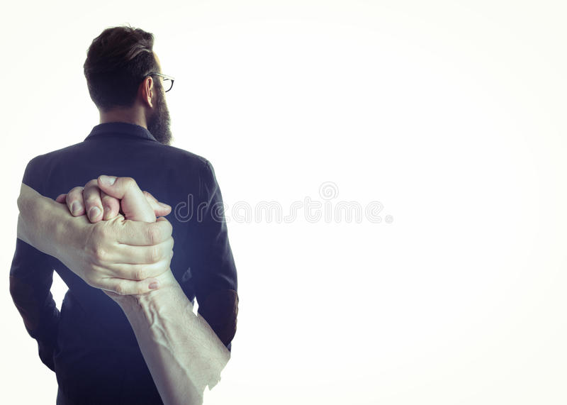 Concept, depicting help with free space. Concept, depicting help. Image created using multiple exposures. Image silhouette of a man in a business suit and a stock images