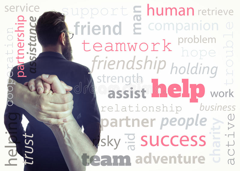 Concept, depicting help. Image created using multiple exposures and adding meaningful words. Image silhouette of a man in a business suit and a handshake royalty free stock photo