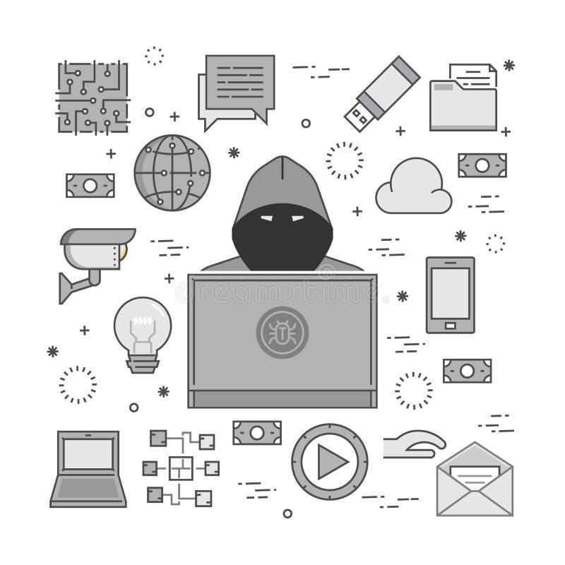 Concept des crimes de entailler et d'Internet illustration de vecteur