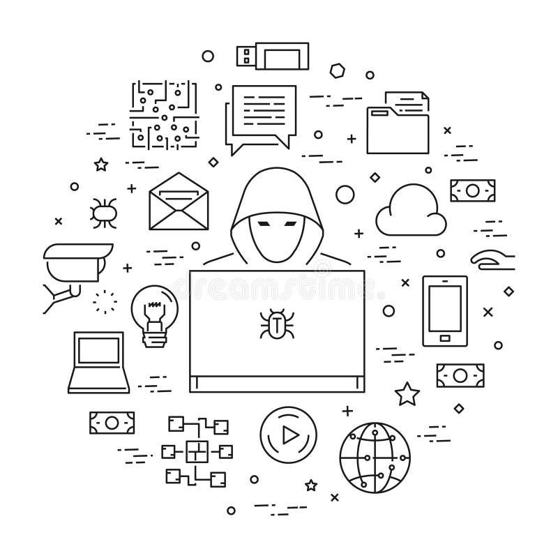 Concept des crimes de entailler et d'Internet illustration libre de droits