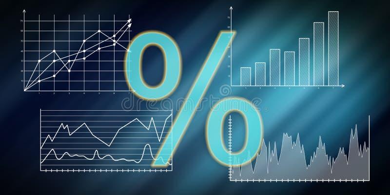 Concept des données numériques de taux d'intérêt illustration libre de droits