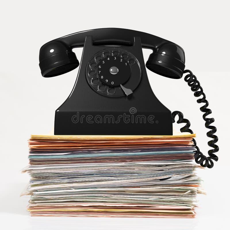Concept des factures à rassembler avec un téléphone au-dessus d'une pile de factures illustration libre de droits