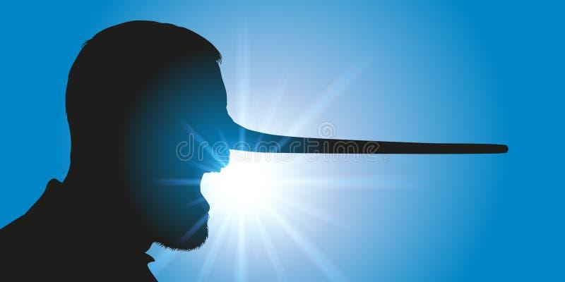 Concept des fausses nouvelles, avec un menteur qui a son élevage de nez illustration libre de droits