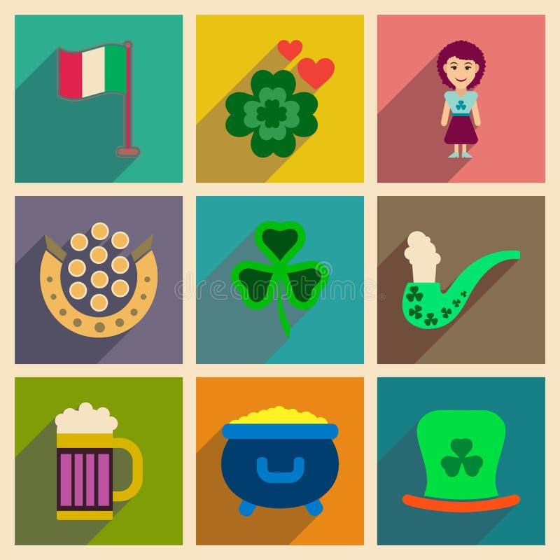 Concept des icônes plates avec le festival de long St Patrick d'ombre illustration stock