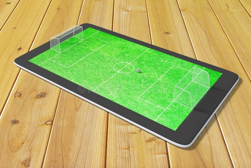 Concept des jeux d'ordinateur dans le football au comprimé numérique image stock