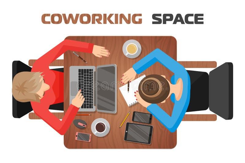 Concept des lieux de travail dans l'espace coworking pour deux personnes Deux filles au bureau illustration stock
