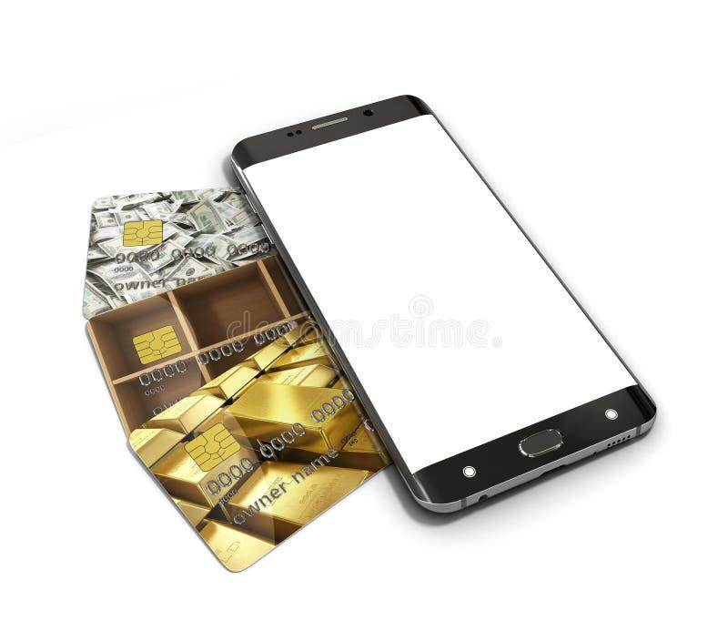 Concept des opérations bancaires mobiles, avec un mensonge blanc de smartphone d'écran illustration de vecteur