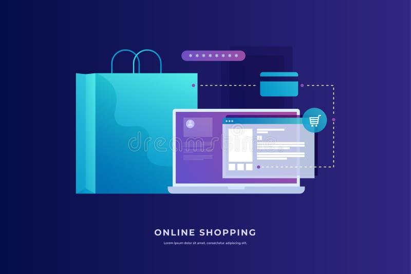 Concept des paiements d'Internet, achats mobiles Achats en ligne illustration libre de droits