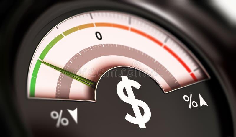 Concept des prix de chute ou déflation de devise du dollar illustration libre de droits