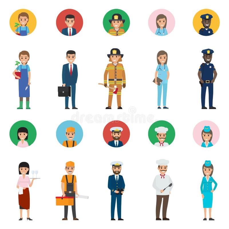 Concept des professions Icône intégrale et ronde illustration libre de droits