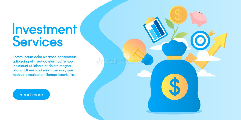 Concept des services d'investissement, illustration de vecteur dans la conception plate photographie stock