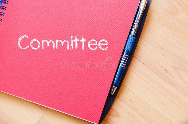 Concept des textes du Comité sur le carnet photo libre de droits