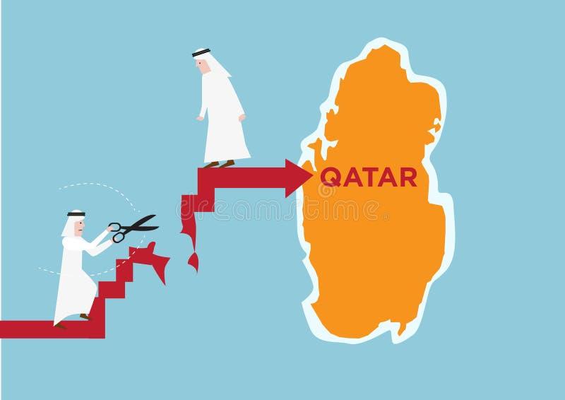 Concept des voisins arabes de la coupe du Qatar ou des liens ou du commerce de division avec eux Clipart (images graphiques) Edit photos libres de droits