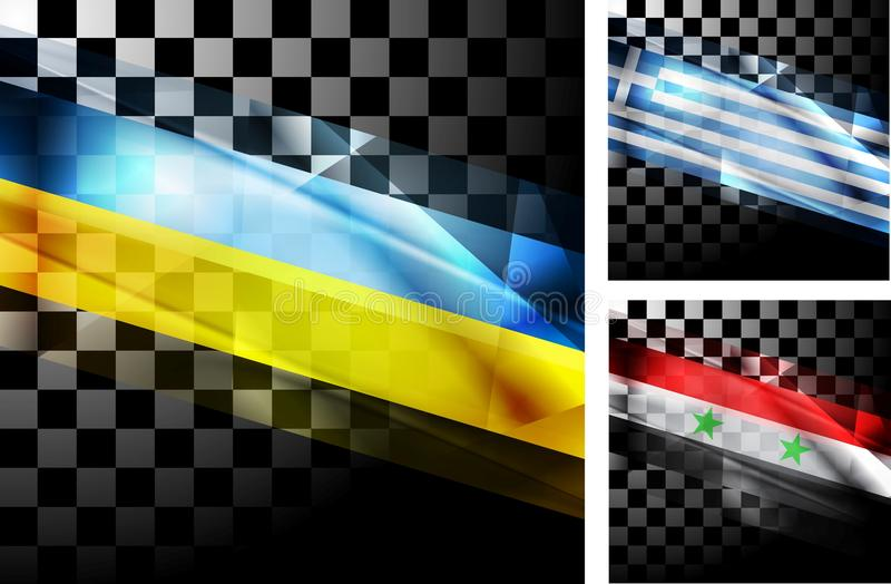 Concept design of flags. Ukraine, Greece and Syria. Vector illustration eps 10 royalty free illustration