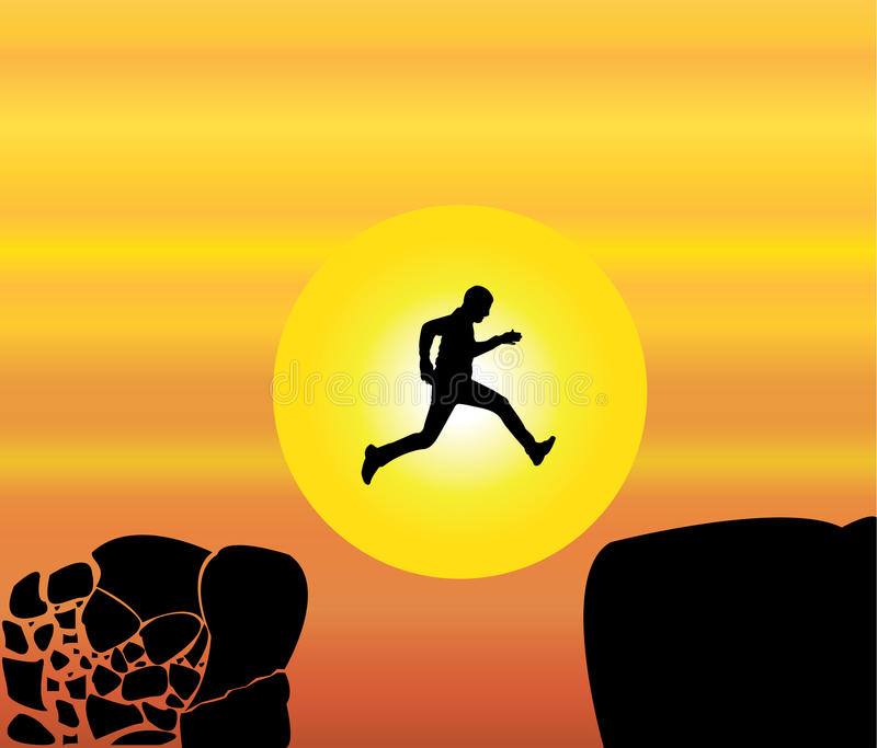 Concept design illustration art of young fit man jumping from a crumbing mountain rock to another safer rock stock illustration