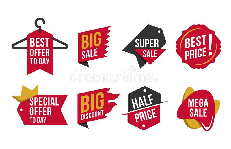 Collection Hot Sale Discount badges. Concept design a illustrator vector of collection discount badges, isolated on white background royalty free illustration