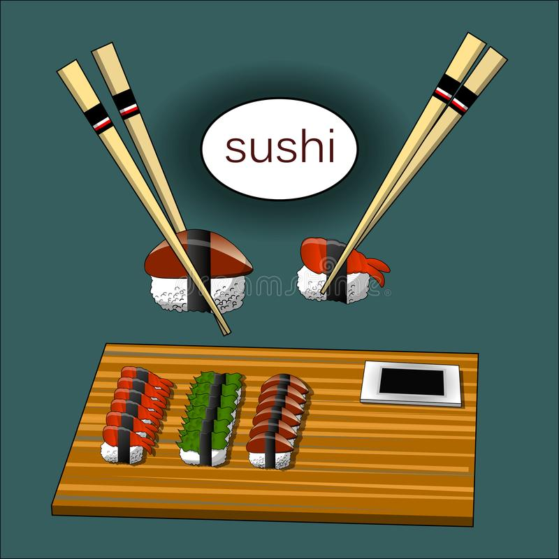 Concept design of the invitation sushi restaurant. Vector illustration stock illustration