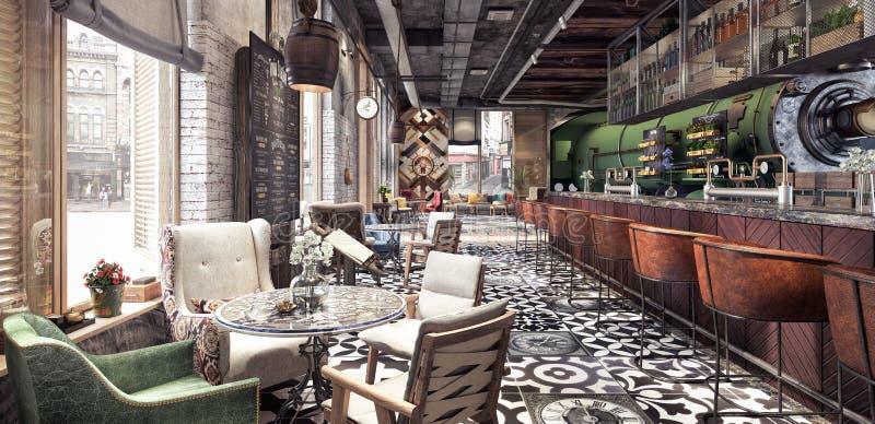 Concept design of modern Restaurant lounge bar `Train Station`. 3D Rendering vector illustration