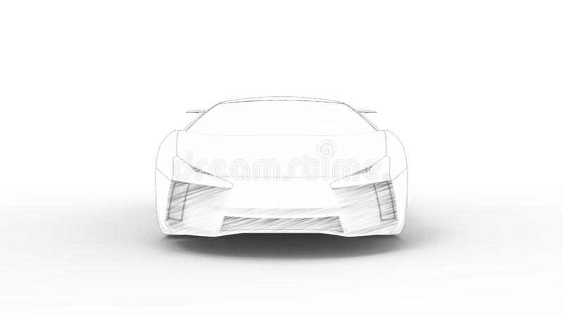 Concept sports car sketch rendering isolated in white background stock illustration