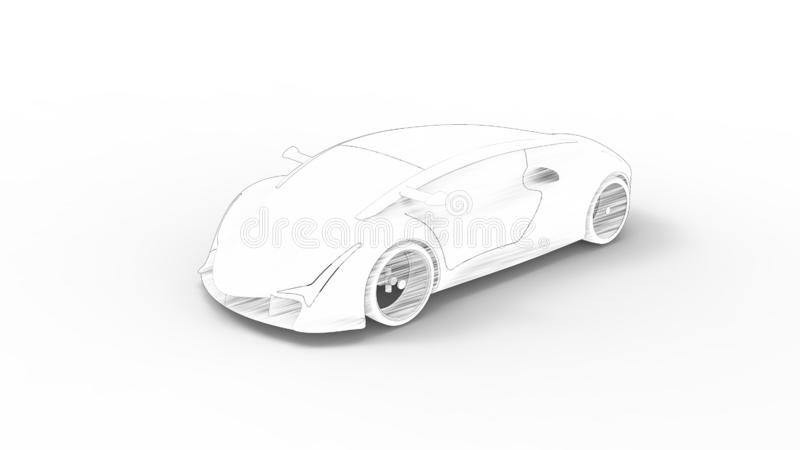 Concept sports car sketch rendering isolated in white background royalty free illustration
