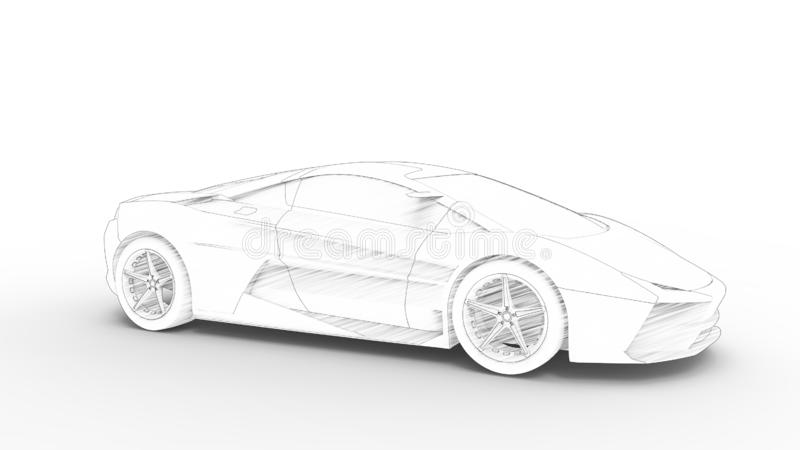 Concept sports car sketch rendering isolated in white background vector illustration