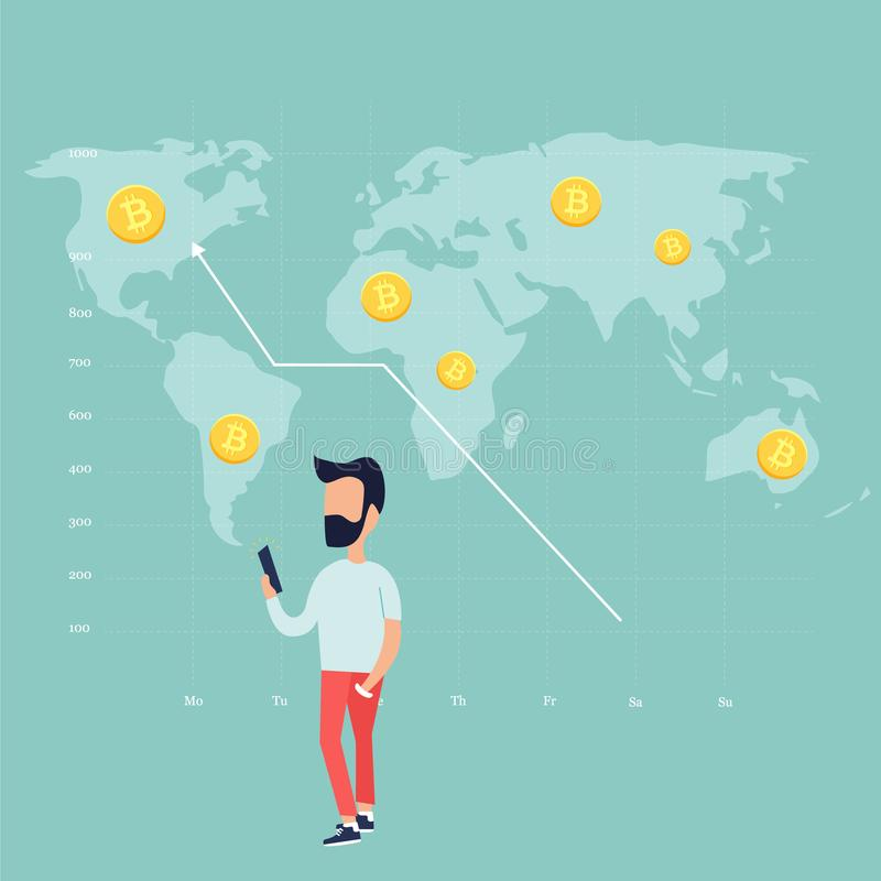 Trading man and growing chart with golden bitcoins. Concept design of a trading man and growing chart with golden bitcoins on background with world map royalty free illustration