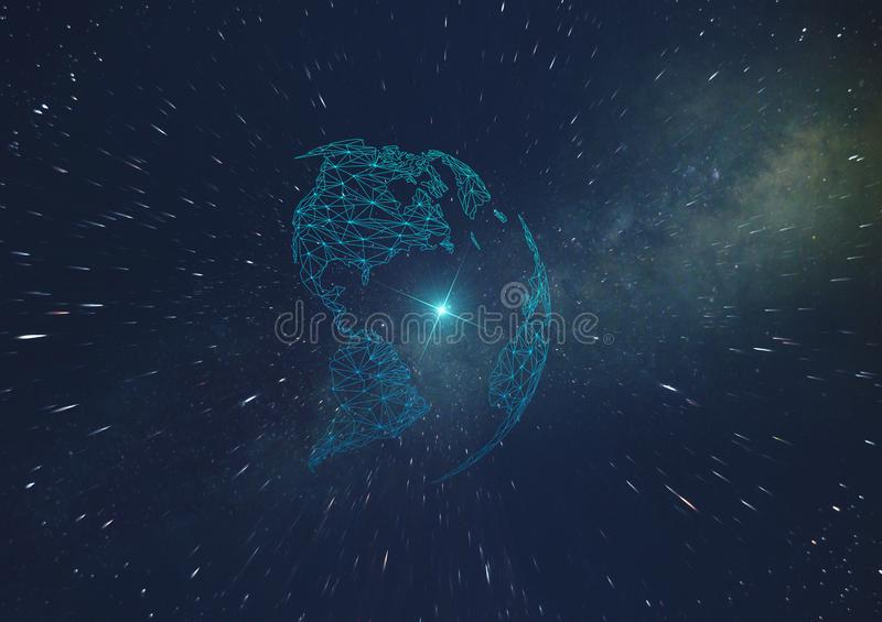 Concept of the development of artificial intelligence on the planet, telecommunication and communication in outer space of the inf stock illustration