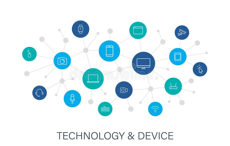 Concept Device and technology web icons in line style. Computer monitor, smartphone, tablet and laptop. Digital network royalty free illustration