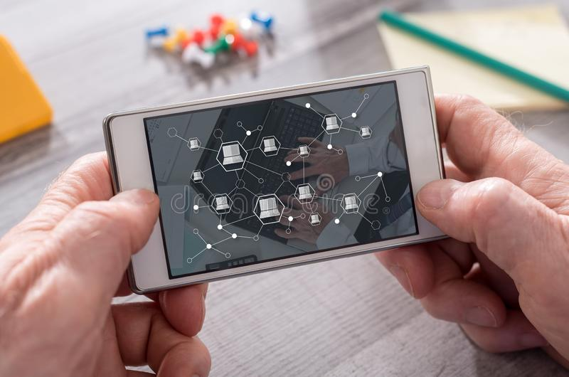 Concept of devices connection stock images