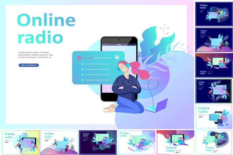 1Concept di ascolto scorrente radiofonico online di Internet, la gente si rilassano per ascoltare ballo Applicazioni di musica, l illustrazione vettoriale
