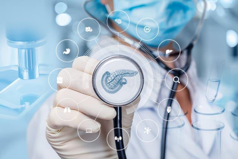 Concept diagnostiquant le pancréas du patient image stock