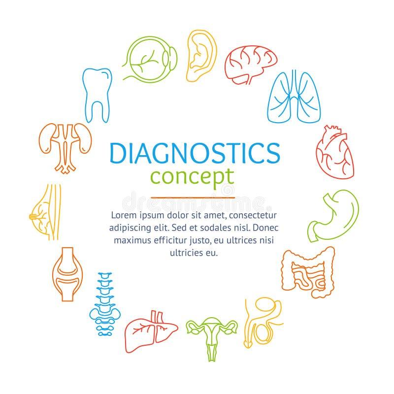 Concept diagnostique avec les organes humains réglés Vecteur illustration stock