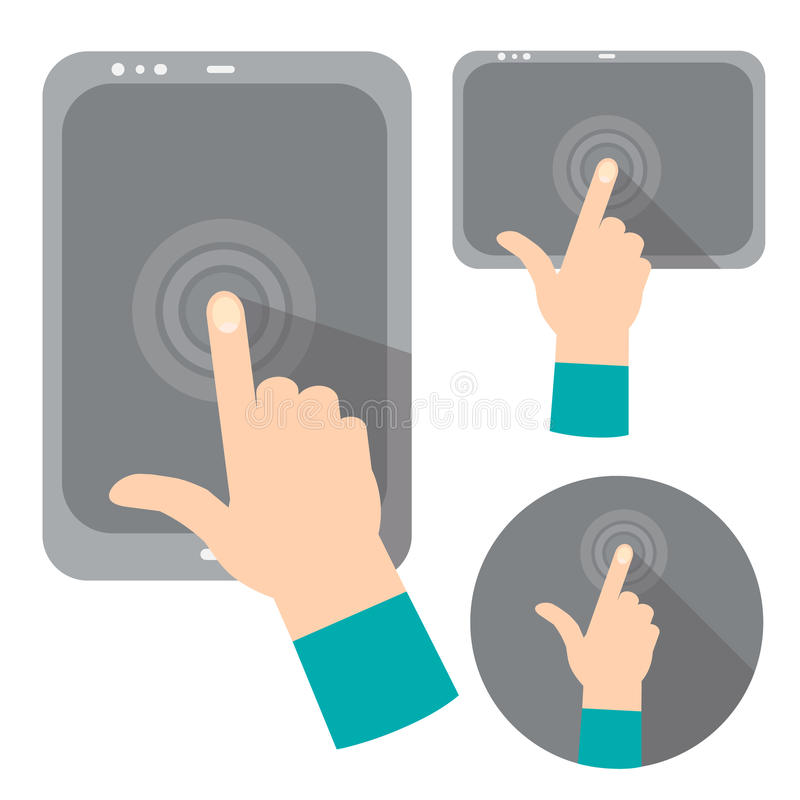 Concept die hand digitale tablet houden stock illustratie