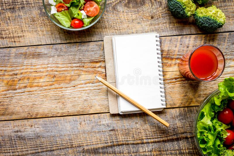 Concept diet, slimming plan with vegetables top view mock up royalty free stock photos