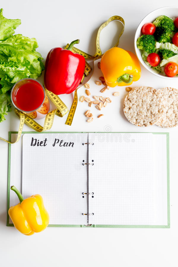 Concept diet, slimming plan with vegetables top view mock up. Concept diet and slimming plan with vegetables top view mock up stock image