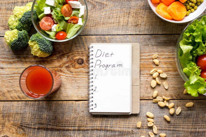 Concept diet, slimming plan with vegetables top view mock up. Concept diet and slimming plan with vegetables top view mock up royalty free stock photos