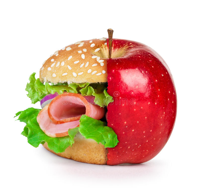 Concept of dieting, healthy eating choices royalty free stock photo