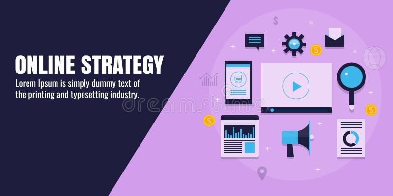 Online marketing strategy, digital branding, business, content, seo, social media, analytics, web promotion concept. Flat banner. Concept of digital brand stock illustration
