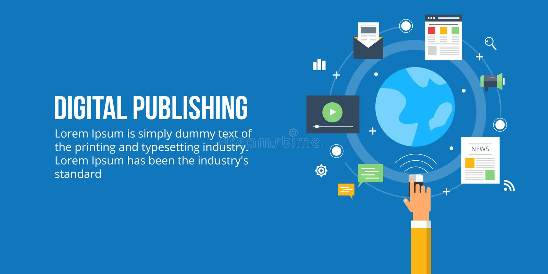 Digital publishing - media content publishing. Flat design concept. Concept of digital content publishing. Different types of digital media publishing worldwide vector illustration