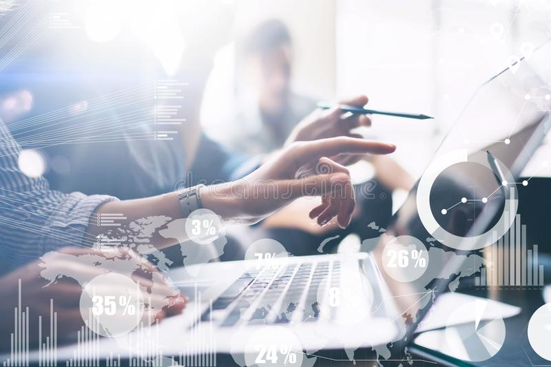 Concept of digital diagram,graph interfaces,virtual screen,connections icon on blurred background. Business meeting stock image