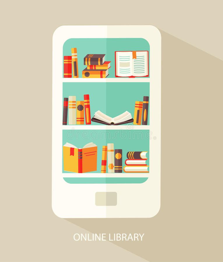 Concept for digital library. stock illustration