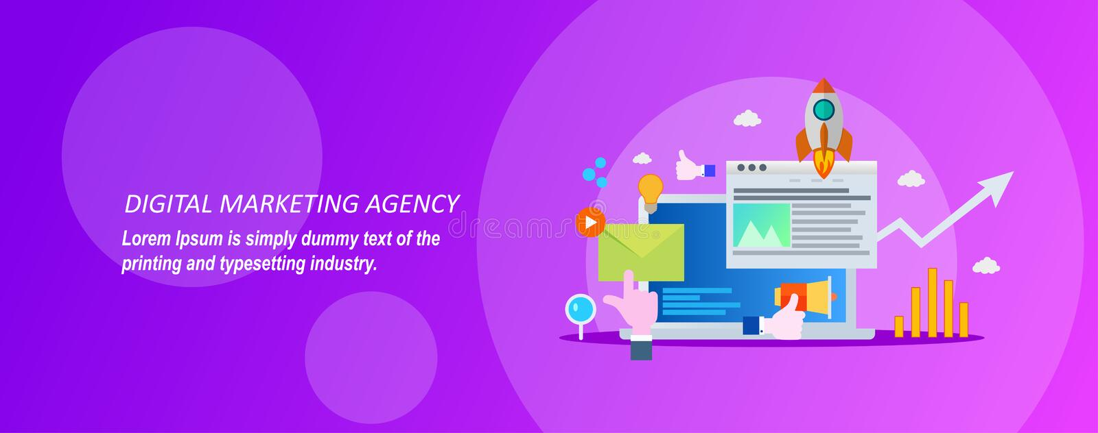 Concept for digital marketing agency on a violet background. Concept for Digital marketing agency, digital media campaign flat vector illustration with icons stock illustration