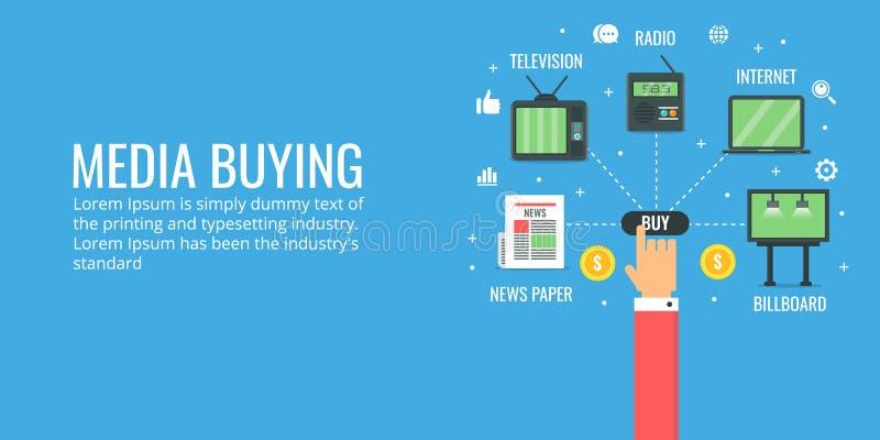 Digital media buying - offline media advertising. Flat design advertising banner. Concept of digital media buying, programmatic advertising including offline vector illustration