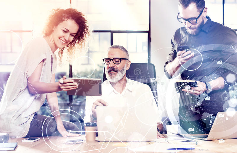 Concept of digital screen,virtual connection icon,diagram, graph interfaces.Young team coworkers found a great work. Concept of digital screen,virtual connection royalty free stock image