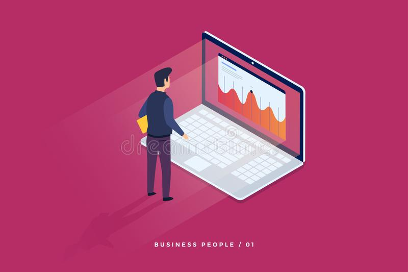 Concept of digital technology. Businessman standing in front of laptop and looks at growth statistics. stock illustration