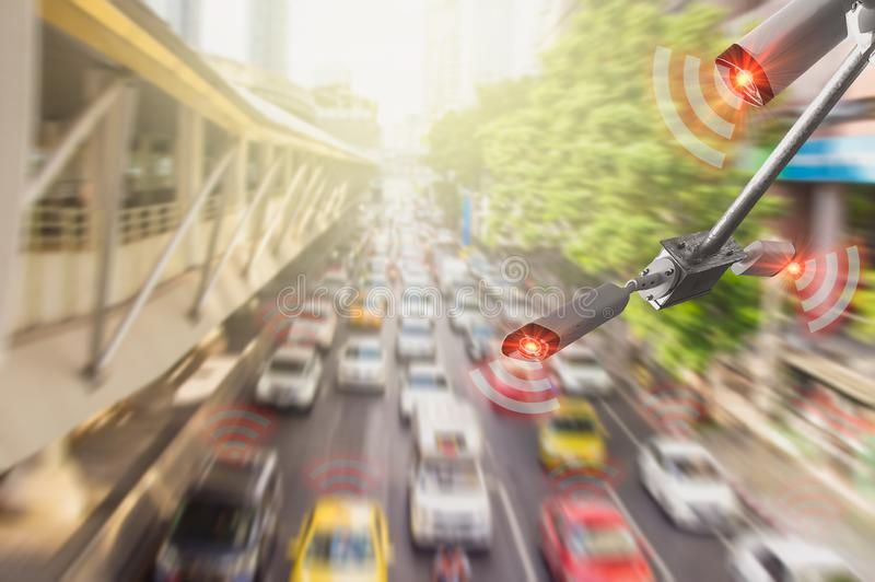 Concept digital technology 4.0,wireless network 5G signal,CCTV  camera intelligent of artificial intelligence systems, to monitor. Road safety and memorize royalty free stock photo